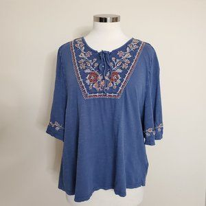 Style & Co Size Large Blue Embroidered Top Blouse